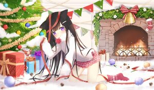Rating: Safe Score: 29 Tags: animal_ears bell blush bow brown_hair christmas fufumi loli long_hair original purple_eyes socks tree User: BattlequeenYume