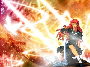 Rating: Safe Score: 7 Tags: green_eyes juuni_kokuki nakajima_youko red_hair school_uniform skirt sword weapon User: acucar11
