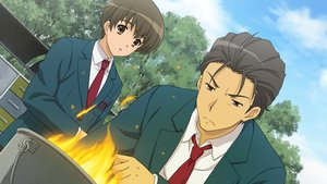 Rating: Safe Score: 22 Tags: all_male brown_eyes brown_hair fire game_cg kunikida male school_uniform short_hair suzumiya_haruhi_no_tsuisou suzumiya_haruhi_no_yuutsu taniguchi tie tree User: SciFi