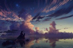 Rating: Safe Score: 106 Tags: animal clouds dog original reflection short_hair silhouette sky stars sunset water watermark wenqing_yan_(yuumei_art) User: otaku_emmy
