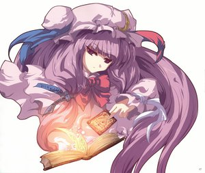 Rating: Safe Score: 13 Tags: book hat long_hair patchouli_knowledge purple_eyes purple_hair ribbons touhou white User: mikucchi