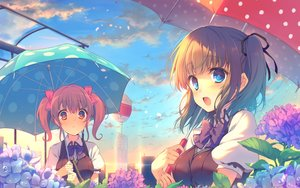 Rating: Safe Score: 167 Tags: 2girls aqua_eyes berrys blonde_hair brown_hair clouds flowers houkou_yuuka leaves reia seifuku sphere tatsumi_wakaba twintails umbrella User: Flandre93