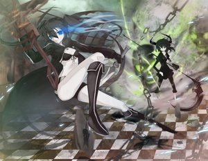 Rating: Safe Score: 21 Tags: black_hair black_rock_shooter blue_eyes green_eyes kneehighs kuroi_mato long_hair short_hair takanashi_yomi weapon User: HawthorneKitty