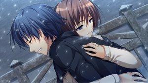 Rating: Safe Score: 58 Tags: blue_eyes blue_hair brown_hair crying game_cg hug koi_de_wa_naku makishima_yumi male norifumi_(koi_de_wa_naku) short_hair snow tears tomose_shunsaku User: Katsumi