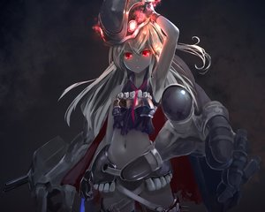 Rating: Safe Score: 255 Tags: anthropomorphism cropped destroyer_water_oni gray kantai_collection kouji_(astral_reverie) long_hair navel polychromatic red_eyes white_hair User: Wiresetc