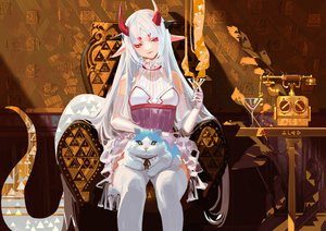 Rating: Safe Score: 61 Tags: alcd animal cat drink elbow_gloves gloves horns long_hair original pixiv_fantasia pointed_ears red_eyes thighhighs white_hair User: RyuZU