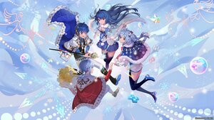 Rating: Safe Score: 22 Tags: aqua_hair balusah bili_bili_douga bili_girl_22 bili_girl_33 blue_hair bow elbow_gloves flowers gloves group long_hair male red_eyes short_hair skirt tagme_(character) watermark User: Maboroshi