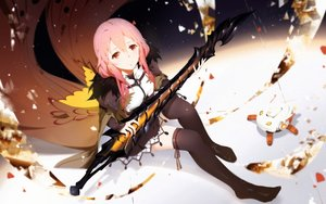 Rating: Safe Score: 91 Tags: cangkong guilty_crown long_hair pink_hair red_eyes skirt sword thighhighs weapon yuzuriha_inori User: luckyluna