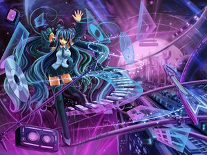 Rating: Safe Score: 33 Tags: aqua_eyes aqua_hair hatsune_miku headphones source_star twintails vocaloid User: gnarf1975