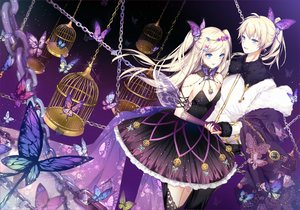 Rating: Safe Score: 50 Tags: aqua_eyes blonde_hair butterfly cage chain dress elbow_gloves gloves kagamine_len kagamine_rin kinoko_hime long_hair male ponytail twintails vocaloid User: RyuZU