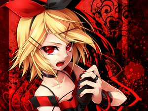 Rating: Safe Score: 148 Tags: blonde_hair bow kagamine_rin microphone red red_eyes shackles short_hair ueno_tsuki vocaloid wristwear User: Maboroshi