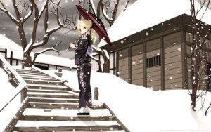 Rating: Safe Score: 122 Tags: blonde_hair blue_eyes building japanese_clothes kantoku kimura_kaere ponytail sayonara_zetsubou_sensei snow tree umbrella winter yukata User: gnarf1975