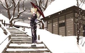 Rating: Safe Score: 143 Tags: blonde_hair blue_eyes building japanese_clothes kantoku kimura_kaere ponytail sayonara_zetsubou_sensei snow tree umbrella winter yukata User: gnarf1975