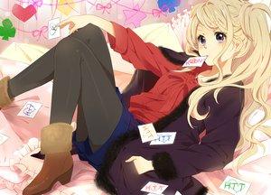 Rating: Safe Score: 80 Tags: blonde_hair boots k-on! karuha kotobuki_tsumugi pantyhose purple_eyes User: opai