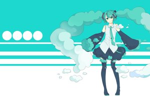 Rating: Safe Score: 61 Tags: aqua_eyes aqua_hair arik boots clouds hatsune_miku tagme thighhighs tie twintails vocaloid User: oppeye