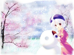 Rating: Safe Score: 13 Tags: gloves long_hair red_eyes scarf snow snowman tree white_hair winter User: Oyashiro-sama