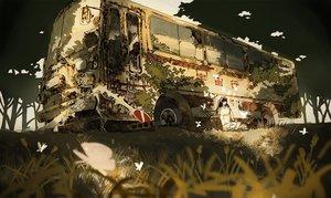 Rating: Safe Score: 56 Tags: butterfly car grass kurohal original ruins User: FormX