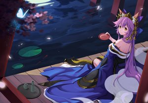 Rating: Safe Score: 60 Tags: animal_ears bao_nuan bell breasts butterfly cherry_blossoms drink fate/extra fate_(series) foxgirl japanese_clothes long_hair petals purple_hair tamamo_no_mae_(fate) water yellow_eyes User: RyuZU