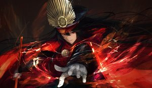 Rating: Safe Score: 50 Tags: black_hair cape fate/grand_order fate_(series) gloves hat katana long_hair magic marumoru nobunaga_oda_(fate) red_eyes sword weapon User: luckyluna