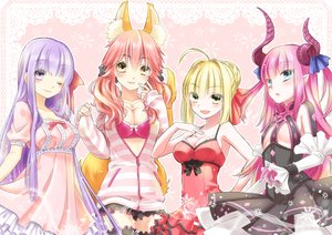 Rating: Safe Score: 103 Tags: animal_ears blonde_hair blush caster_(fate/extra) fate/extra fate/stay_night horns lancer_(fate/extra_ccc) matou_sakura pink_hair purple_hair red_hair saber_extra wink youryokuso User: FormX