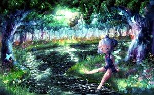 Rating: Safe Score: 83 Tags: akisha barefoot blue_eyes blue_hair cirno grass loli scenic short_hair touhou tree water User: Flandre93