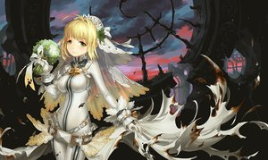 Rating: Safe Score: 71 Tags: blonde_hair bodysuit bow chain fate/extra fate/extra_ccc fate_(series) flowers gloves green_eyes headdress long_hair saber_bride saber_extra seeker User: Flandre93
