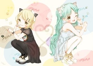 Rating: Safe Score: 94 Tags: 2girls animal_ears catgirl hatsune_miku kagamine_rin mnmktn vocaloid User: FormX