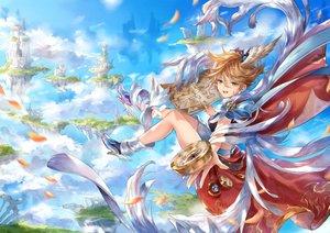 Rating: Safe Score: 16 Tags: brown_hair building clouds green_eyes ittetsu_taro original petals short_hair sky User: RyuZU