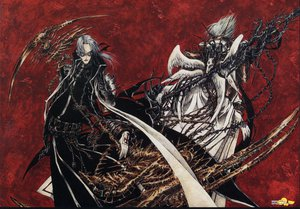 Rating: Safe Score: 19 Tags: abel_nightroad blonde_hair cain_nightroad glasses gloves gray_hair red scythe thores_shibamoto trinity_blood weapon wings User: atlantiza
