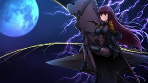 Rating: Safe Score: 16 Tags: bodysuit breasts fate/grand_order fate_(series) kagura_ren long_hair moon night purple_hair red_eyes scathach_(fate/grand_order) skintight spear weapon User: RyuZU
