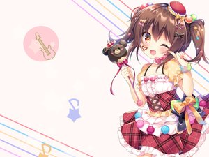 Rating: Safe Score: 57 Tags: blush bow brown_hair candy chocolate dress fang loli red_eyes ribbons twintails umeko_machi wand wink wristwear User: 蕾咪