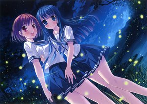 Rating: Safe Score: 156 Tags: 2girls blue_eyes blue_hair blush purple_eyes red_hair scan seifuku sky tagme yamakaze_ran yuri User: gnarf1975