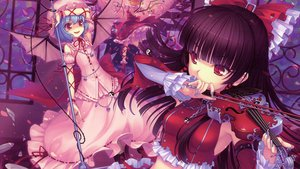 Rating: Safe Score: 95 Tags: hakurei_reimu red_eyes remilia_scarlet sayori scan touhou User: ju_chan