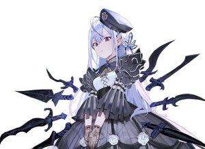 Rating: Safe Score: 86 Tags: goth-loli gray_hair lolita_fashion long_hair misoni_comi original purple_eyes sword weapon white User: Dreista