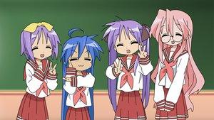 Rating: Safe Score: 33 Tags: hiiragi_kagami hiiragi_tsukasa izumi_konata lucky_star school_uniform takara_miyuki vector User: maniack
