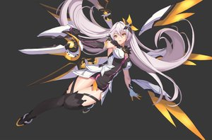 Rating: Safe Score: 133 Tags: dress elbow_gloves gloves gray honkai_impact jeongjae_(jj) kiana_kaslana long_hair mechagirl thighhighs weapon white_hair wings yellow_eyes User: otaku_emmy