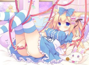 Rating: Questionable Score: 89 Tags: animal_ears aqua_eyes bandaid blonde_hair blush bow bunny lolita_fashion long_hair original panties purinko ribbons thighhighs underwear waifu2x User: mattiasc02
