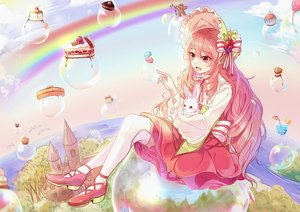 Rating: Safe Score: 35 Tags: animal bird bubbles cake dress food fruit hat lolita_fashion long_hair original pink_eyes pink_hair rabbit thighhighs tree xinghuo User: RyuZU