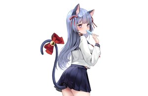 Rating: Safe Score: 102 Tags: animal_ears bell blue_hair bow catgirl choker lillly long_hair original popsicle purple_eyes ribbons school_uniform skirt tail white User: otaku_emmy