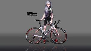 Rating: Safe Score: 55 Tags: bicycle bike_shorts gloves gradient hitomi_kazuya long_hair original purple_hair shorts skintight third-party_edit watermark User: gnarf1975