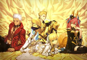 Rating: Safe Score: 192 Tags: animal_ears archer armor blonde_hair breasts brown_eyes cleavage dress fate/extra fate_(series) fate/stay_night gilgamesh green_eyes hat male nero_claudius_(bride) nero_claudius_(fate) pink_hair red_eyes scan tail takeuchi_takashi tamamo_no_mae_(fate) thighhighs white_hair yellow_eyes User: Wiresetc
