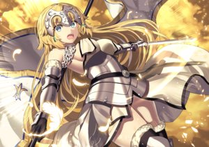 Rating: Safe Score: 88 Tags: akae_neo aqua_eyes armor blonde_hair breasts chain elbow_gloves fate/grand_order fate_(series) feathers gloves headdress jeanne_d'arc_(fate) long_hair sword thighhighs weapon User: RyuZU