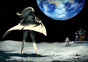 Rating: Questionable Score: 56 Tags: ass earth gloves gray_hair long_hair moon nude original space twinpoo User: SciFi