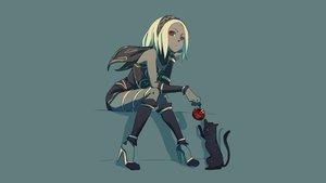 Rating: Safe Score: 100 Tags: animal apple blonde_hair cat food fruit gravity_daze kat_(gravity_daze) red_eyes scarf tagme_(artist) User: Homunkurusu