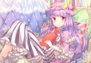 Rating: Safe Score: 42 Tags: book bow dress hat long_hair patchouli_knowledge purple_eyes purple_hair touhou yukizumi_remon User: Flandre93