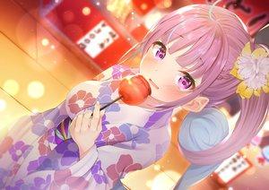 Rating: Safe Score: 74 Tags: apple blush candy festival food fruit hololive japanese_clothes long_hair minato_aqua nari_(narikashi) ponytail purple_eyes purple_hair summer yukata User: BattlequeenYume