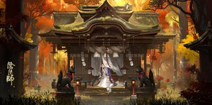 Rating: Safe Score: 73 Tags: animal autumn fom_(lifotai) forest fox japanese_clothes leaves miko onmyouji shrine signed sunset tree water User: BattlequeenYume