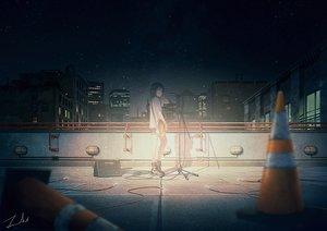 Rating: Safe Score: 57 Tags: black_hair brown_eyes building city guitar instrument night original rooftop scenic short_hair shorts signed sky stars tamaki_(tamaki_illust) User: RyuZU