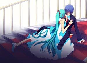Rating: Safe Score: 35 Tags: aqua_eyes aqua_hair blue_eyes blue_hair blush dress hatsune_miku kaito long_hair male stairs twintails vocaloid User: TomomiSuzune