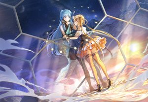 Rating: Safe Score: 41 Tags: 2girls achyue aqua_eyes aqua_hair blonde_hair braids cangqiong clouds dress long_hair moon pink_eyes shian_(synthv) sky stars sunset synthesizer_v twintails water User: BattlequeenYume